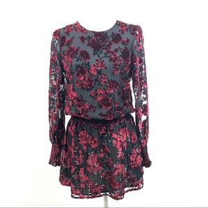 Parker Carmindy Smocked Velvet Burnout Dress NWT